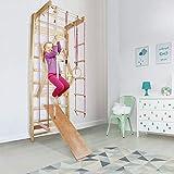 CCLIFE Sprossenwand Turnwand Gym Klettergerüst Holz Sportgerät Kletterwand mit Stange Fitness Kinder Erwachsener, Farbe:Sprossenwand 004- Rot