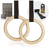High Pulse® Turnringe inkl. Türanker, Türschild + Übungsposter – Gymnastikringe aus Holz für EIN effektives Eigengewichtstraining zuhause oder draußen