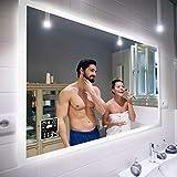 Badspiegel 150x80cm mit LED Beleuchtung - Wählen Sie Zubehör - Individuell Nach Maß - Beleuchtet Wandspiegel Lichtspiegel Badezimmerspiegel - LED Farbe zu Wählen Kaltweiß/Warmweiß L01