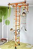 NiroSport FitTop M1 Indoor Klettergerüst für Kinder Sprossenwand für Kinderzimmer Turnwand Kletterwand, TÜV geprüft, kinderleichte Montage, max. Belastung bis ca. 130 kg (Orange)