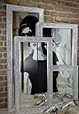 Livitat® Wandspiegel Spiegel Mosaik Badspiegel mit Glasmosaik Crackle Art Deco 120 x 60 cm Silber LV9051